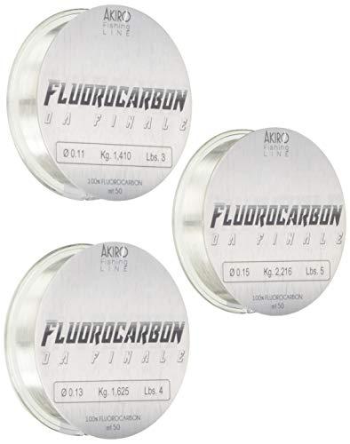 Akiro 100% Fluorocarbon, Filo da Pesca Unisex - Adulto, Trasparente, 0.17-0.19-0.2 mm
