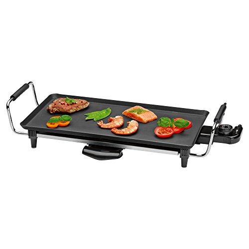 Clatronic TYG 3608 Teppanyaki-Grill mit antihaftbeschichteter großer Grillfläche und herausnehmbarem Fettauffangbehälter, stufenlos regelbarer Thermostat, wärmeisolierte Handgriffe, Schwarz