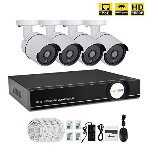 IMATEK Kit di video sorveglianza 1080P PoE,telecamera Day/Night Bullet IR 4pcs, collegato con registratore NVR in H.264(Senza HDD Preinstallato)
