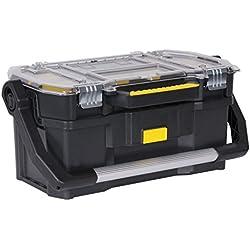 Stanley Werkzeugkoffer / Werkzeugtrage (56x32x25cm, mit Organizeraufsatz, getrennt verwendbar, Koffer mit rostfreien Metallschließen, stabiler Koffer für Werkzeuge und Kleinteile) STST1-70317