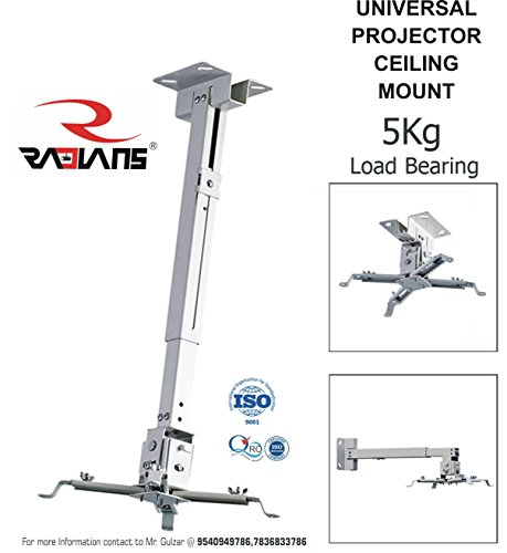 RADIANS Heavy Duty Projector Ceiling Mount Bracket Projector Ceiling Mount Kit with Adjustable Option (Weight Capacity - 15kgs)
