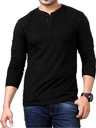 Style Shell Men's Henley Full Sleeve Cotton T-Shirt (Black, Newborn)