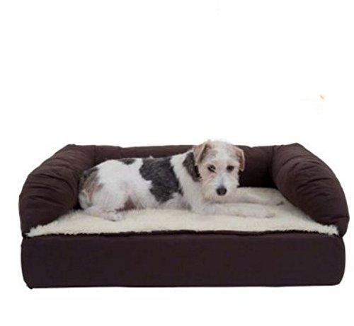 Letto per cani ortopedico marrone e beige memory foam – perfetto e comodo divano letto per cani...