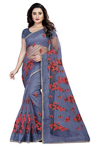 Orangesell Women's Mono Net Embroidery work Saree With Blouse Piece(Grey_Free Size)