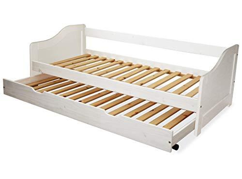 KMH®, Massivholz Kinderbett/Ausziehbett mit ausziehbarem Bettkasten, incl. 2 Lattenroste (90 x 200 cm/Weiss) (#201101)