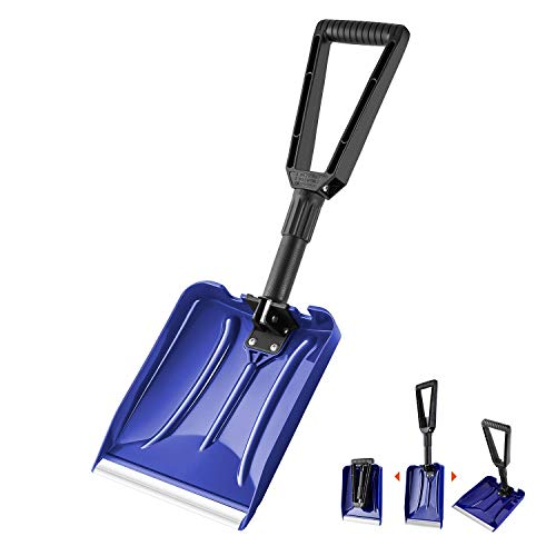 """Orientools Pala de nieve plástica plegable para trabajo pesado con mango D-Grip, arado liviano de uso general para automóvil (color azul, hoja de borde de aluminio: 9""""x 11 '')"""