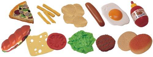 Miniland 30585 - Set de piezas de comida rápida de juguete (bolsa con 19 piezas)
