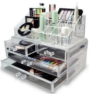 ShopAIS Acrylic Clear Cosmetic Case/Jewellery Box with 4 Drawers