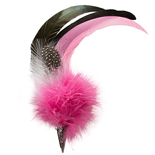 Alpenflüstern Damen Hahnenfeder-Brosche Hutfeder Farbenfroh API04600025 pink