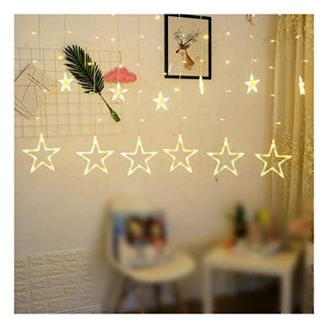 Gdtime Rideaux Lumineux Guirlandes Lumineuses 12 Étoiles 138 Leds Eclairage Décoration Festivals Noël Interieur Mariages avec 8 Modes d'éclairage