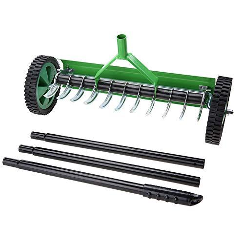 GOTOTOP Aireador de Césped de Jardín al Aire Libre con Manija Larga Tipo Spike Heavy Duty Steel Grass Roller