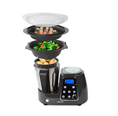PRIXTON - Robot da Cucina Multifunzione Programmabile: Frulla, Frusta, Trita, Cuoce al Vapore,...
