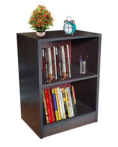 Aaroora Engineered Wood Open Bookcase Storage Unit 2 Shelf, Wenge Finish