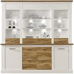 trendteam Wohnzimmer Highboard Schrank Toronto, 210 x 210 x 42 cm in Korpus Pinie Weiß, Absetzung Nussbaum Satin Dekor im Landhausstil