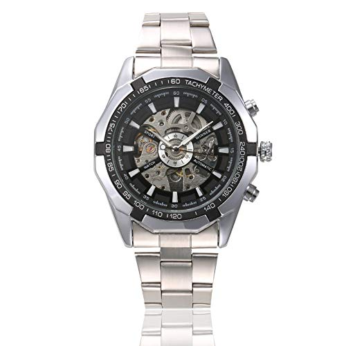 Fashionwu Cool Watches for Mens Skeleton Black Automatic Mechanical Sport Wrist Watch Stainless Steel Band Black Dial