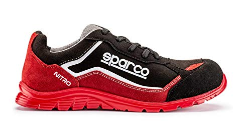 Sparco Nitro S3 SRC Scarpe Antinfortunistiche da Lavoro Nero/Rosso in Pelle Fiore Impermeabile (44...