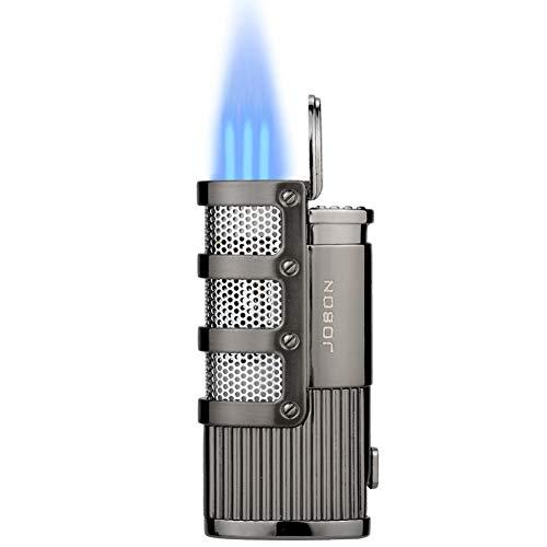 TOPKAY Sturmfeuerzeug, 3 Jet Flammen Feuerzeug, Zigarren Feuerzeug Mit Zigarrenschneider, Nachfüllbare Gas-Sturmfeuerzeug, Pfeifenfeuerzeug, Gas Feuerzeug