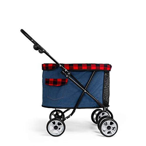 BTCS-X Pet Dog Cat Animal Passeggino |Pieghevole con il cestino di immagazzinaggio |Viaggi veterinaria Passeggino disabili Dog Passeggino |Anteriore girevole ruota e freno posteriore (Cowboy) cane vag