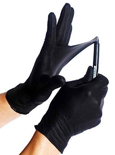 100x Guanti Monouso - Nero Extra Safe Robusto Guanti in nitrile Senza Polvere Senza Lattice AQL 1.5...