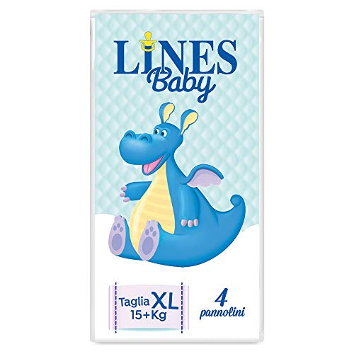 Lines Baby - Extra Large, 4 Pannolini, Taglia 5-6 (15+ Kg),Confezione Prova