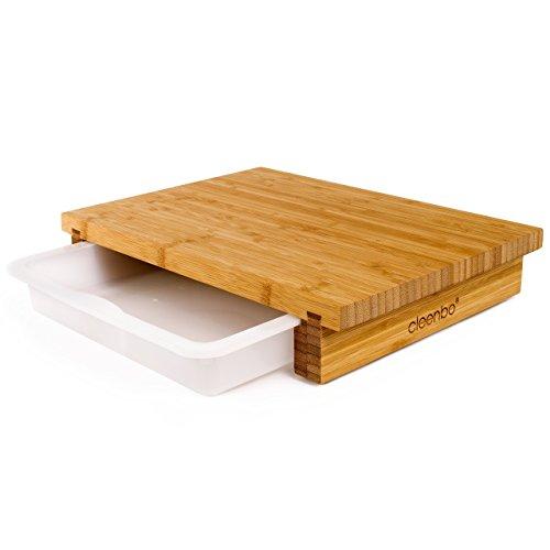 Schneidbrett cleenbo 'classic bamboo' Profi Küchenbrett aus geöltem Bambus mit verschiebbarer Auffangschale aus lebensmittelechtem Kunststoff, Board Maße: 400 x 290 x 70 mm