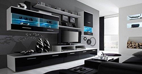Home Innovation- Mobile Soggiorno - Parete da Soggiorno moderno con LED, Bianco Mate e Nero Laccato,...
