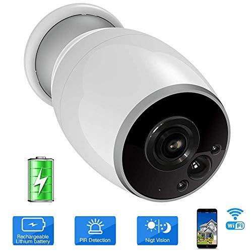 VIGICA Wifi Telecamera di Sicurezza 1080P Ricaricabile a Batteria Videocamera sorveglianza esterno, Allarme Sensore di Movimento PIR, Versione Notturna, Audio Bidirezionale, iOS Android remoto
