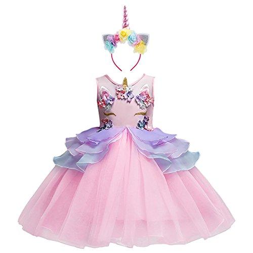 Costume da Principessa Unicorno per Bimba con Vestito Lungo Compleanno Ballerina Abiti Bambini Carnevale Halloween Cosplay Abito A Rosa (2PCS) 7-8 Anni