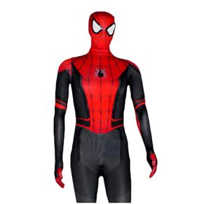 QWEASZER Spider-Man: Far From Home, Marvel movie game Nueva versión Disfraz de Spiderman Medias siamesas Traje negro de Spider-Man Cosplay