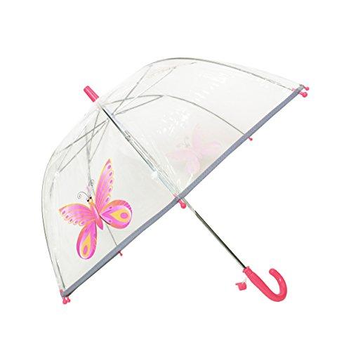 SMATI Paraguas niños - Largo Transparente Forma de Campana - Borde Fluorescencia(Mariposa Rosa)