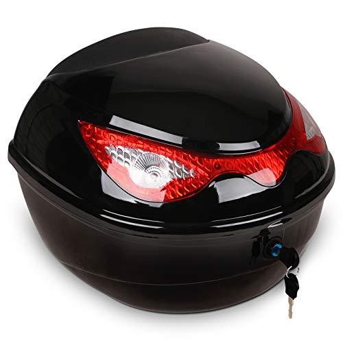 Baúl para Moto   18 litros, Máx. 5kg, 40x37x28cm, Bandas Reflectantes  Topcase, Top Case, Maleta Moto, Cofre Moto (Negro)