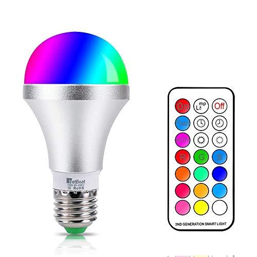 Lampadine Colorate LED E27 10W RGBW Dimmerabile Cambia Colore Lampadina,con 21 Chiave...