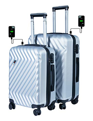 3G Atlantis Smart Series USB Charging 4 Wheel Hard Sided Luggage Set of 2 Trolley Travel Bags (20inch / 55cm + 24inch / 65cm) Suitcase SMT4