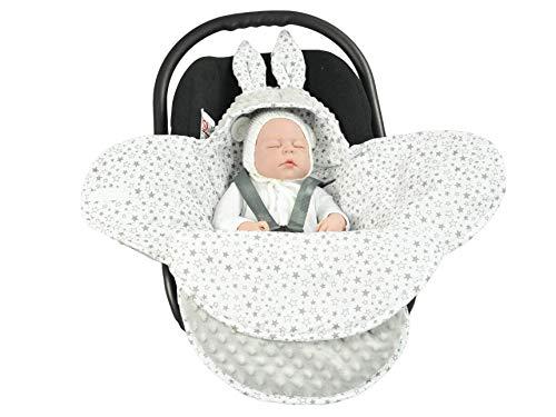 EliMeli Baby Einschlagdecke, Universal für Babyschale, Autositz, Kinderwagen Buggys und Babybett, Sehr Hohe Qualität, Minky Decke (Grey - Grey Stars)