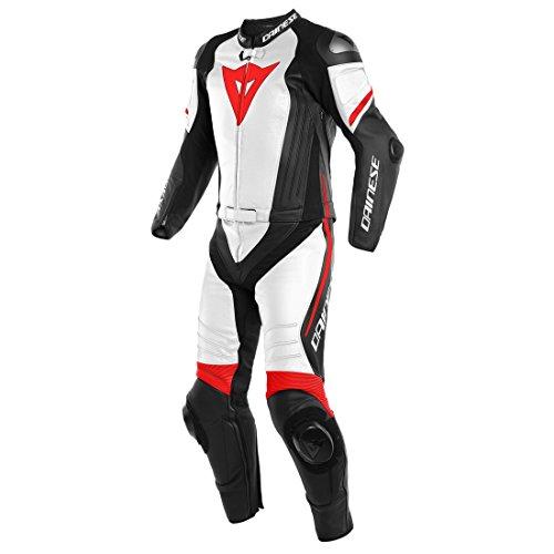 Monos de moto Dainese 1513461_23A_56 piel, Negro Matt/Blanco/Fluorescente