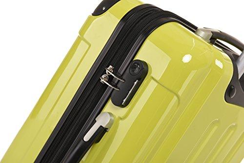 BEIBYE Hartschalen Koffer Trolley Rollkoffer Reisekoffer 4 Zwillingsrollen Polycabonat (Grün, Kofferset) - 5