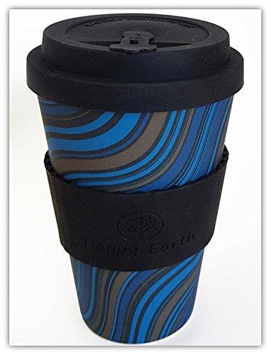 WAVESTRIPE di Happy Earth (Riutilizzabile tazza da caffè Eco-Friendly 450ml, realizzata con fibra...