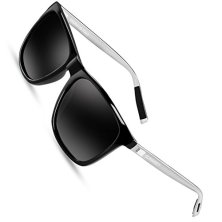 SUNMEET-Gafas-de-sol-Hombre-Polarizadas-Clsico-Retro-Gafas-de-sol-para-Hombre-UV400-Protection-S1001NegroPlateado