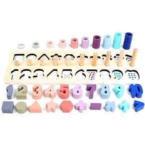 Honsin Preschool Niños Math Toys Count Geométrico Forma Cognition Partido de Madera Montessori Toy - Macaron Color