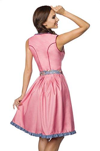 Luxus Designer Dirndl mit Schürze Kleid Dirndkleid Oktoberfest Tracht Trachtenkleid Spitze Denim Blumenprint Paspelierung Rüschen Rot Grün Rosa Blau XS - 3XL -