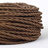 10 METERS 3 Core Brown - ANTIQUE BRAIDED TWISTED WOVEN SILK FABRIC LAMP FLEXIBLE CABLE WIRE CORD LIGHT (MLCA007METERS10)