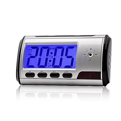 Telecamera spia nascosta con sveglia, 1280 x 960, telecamera di sorveglianza interna con batteria, rilevatore di movimento, orologio da tavolo, registrazione video con audio