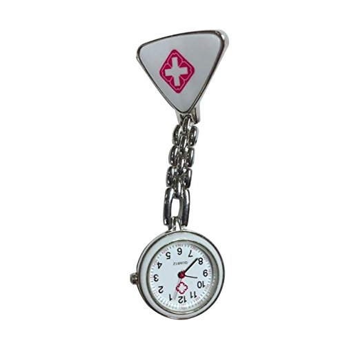 ShopyStore White Nurses Fob Watch Clip Nurse Doctor Pendant Pocket Quartz Red Cross Brooch Nurses