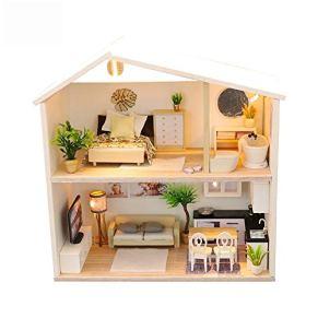 Casa de muñecas Regalos DIY miniatura de habitaciones Set-Woodcraft Construction Kit Modelo de madera fijado del mini de la casa hace mejor cumpleaños for mujeres y niñas Casa de muñecas DIY