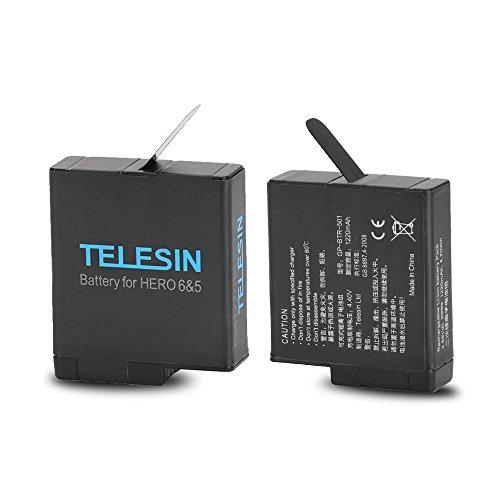 TELESIN Sostituzione batteria 2 Alimentatore per GoPro hero5 Nero, batterie ricaricabili aggiornamento per la ultima v02.00 e versioni inferiori (2 batterie)