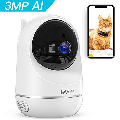 ieGeek 3MP Telecamera WiFi interno, Videocamera IP Sorveglianza wifi, Videocamera Monitor per Animali Domestici e per Bambini, AI Rilevamento Umanoide, Visione Notturna, Telecomando, Supporto Alexa