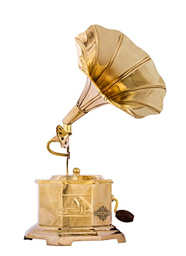 Indian Art Villa Handmade Brass Dummy Round Gramophone Phonograph, Showpiece Decorative Gift Item, Gold