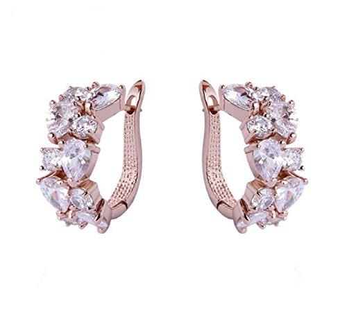 Fabula Jewellery 18K Rose Gold Plated Cubic Zirconia Office-wear Fashion Drop Earrings for Women & Girls (EYYX2)