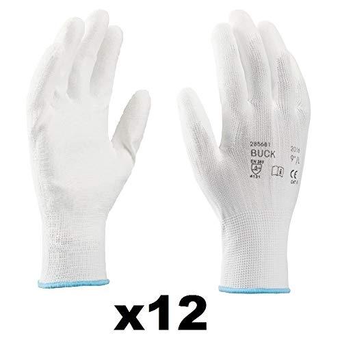 Guanti da lavoro (12 paia) - Guanti di montaggio antiscivolo senza cuciture - comodi da indossare,...