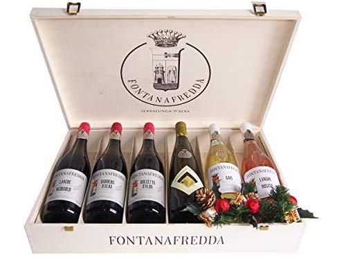 Selezione Vini Importanti Fontanafredda in Cassetta Legno Originale - Confezioni Regalo Vino per Natale - cod 218